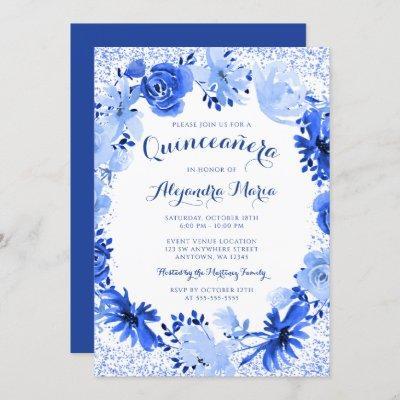 Royal Blue Watercolor Floral
