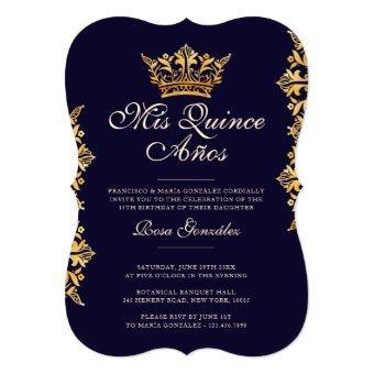 Royal Gold Leaf Crown Elegant Navy Quinceañera
