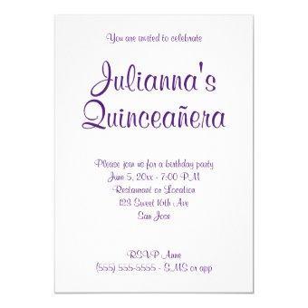 Royal Purple Quinceañera Calligraphy Birthday