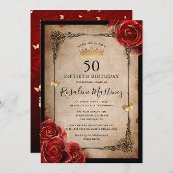 Royal Vintage Red Rose Gold Elegant Birthday