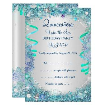 Quinceanera rsvp cards quinceanera invitations rsvp blue under the sea 15th birthday bookmarktalkfo Gallery