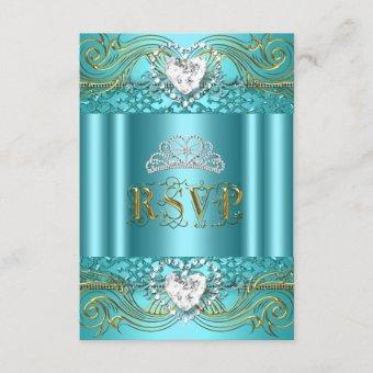 RSVP Reply Response Teal Blue Gold