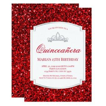 Ruby Red Glitter Quinceañera