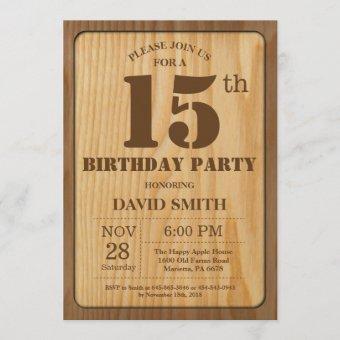 Rustic 15th Birthday Vintage Wood