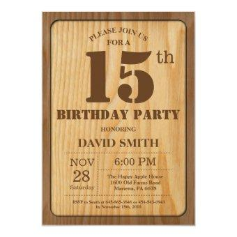 Rustic 15th Birthday Vintage Wood