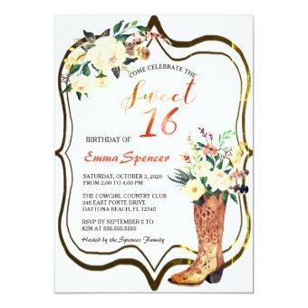 Rustic Boho Cowgirl Floral Boots Sweet 16 B'day