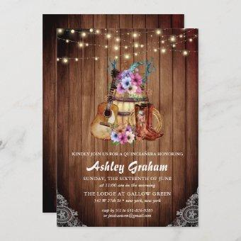 Rustic Boots Cowgirl Quinceañera 15th Birthday