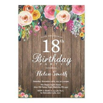 Rustic Floral 18th Birthday for Women