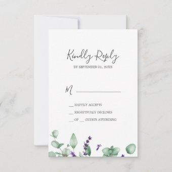 Rustic Lavender & Eucalyptus Simple RSVP Card