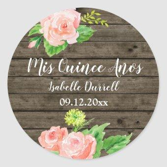 Rustic Mis Quince Anos Coral Pink Watercolor Roses Classic Round Sticker