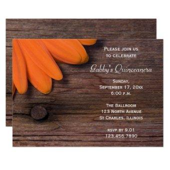 Rustic Orange Barn Wood Daisy Invite