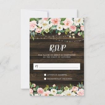 Rustic Pink Floral String Lights RSVP Card