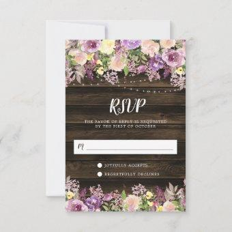 Rustic Purple Floral String Lights RSVP Card