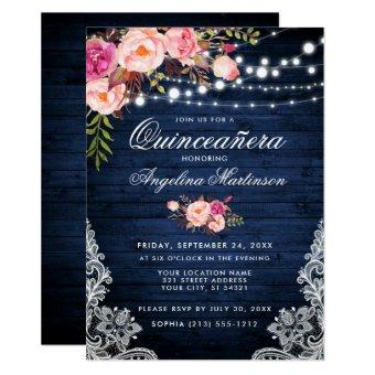 Rustic Blue Wood Lights Pink Floral