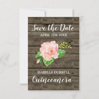 Rustic Coral Peach Watercolor Roses Save The Date