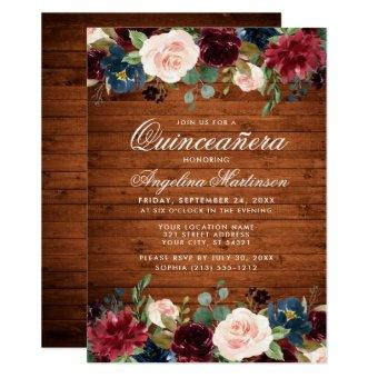 Rustic Wood Burgundy Blue Pink Floral