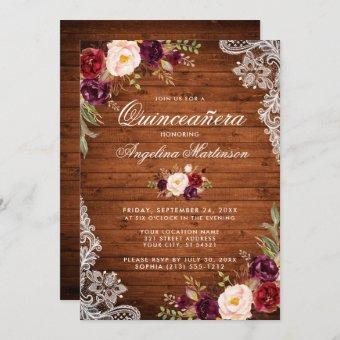 Rustic Wood Lace Burgundy Floral