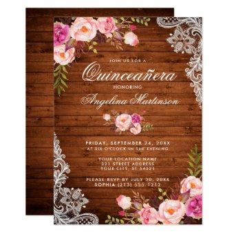 Rustic Wood Lace Pink Floral