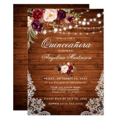 Rustic Wood Lights Lace Floral