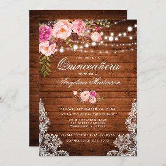 Rustic Wood Lights Lace Pink Floral