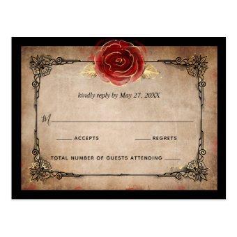 Rustic Red Rose Gold Black Elegant Wedding RSVP Post