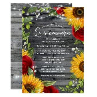 Rustic Sunflower Burgundy Rose Wood
