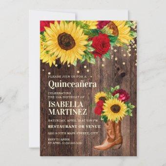 Rustic Sunflower Red Roses Boots Quinceañera