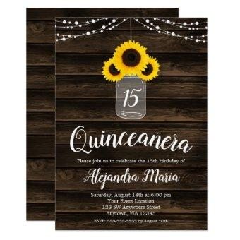 Rustic Sunflower String Lights Invites