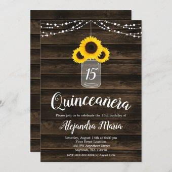 Rustic Sunflower String Lights Invites