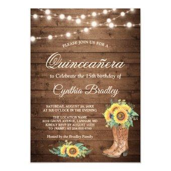 Rustic Sunflowers Boots Quinceañera 15th Birthday