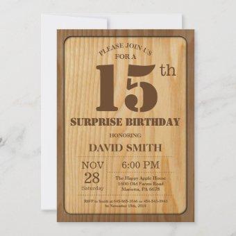 Rustic Surprise 15th Birthday Wood