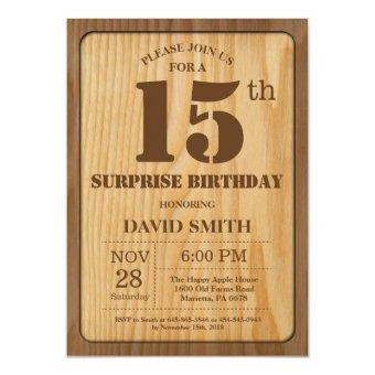 Rustic Surprise 15th Birthday Wood