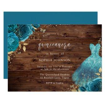Rustic Teal Sparkle Dress Rose Party
