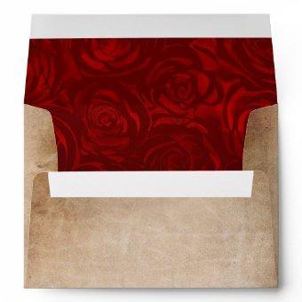 Rustic Vintage Red Rose Parchment Return Address Envelope