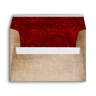 Rustic Vintage Red Rose Parchment Return Address Envelope