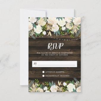 Rustic White Floral String Lights RSVP Card