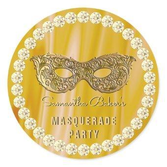 Satin Diamonds Gold Masquerade Party Glam Birthday Classic Round Sticker