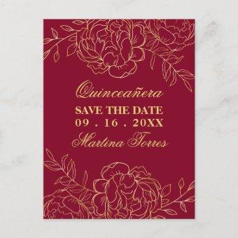 Save the Date Burgundy and Gold Fine Art Floral Announcement Post
