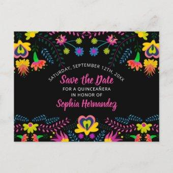 Save the Date Colorful Mexican Fiesta Floral Announcement Post