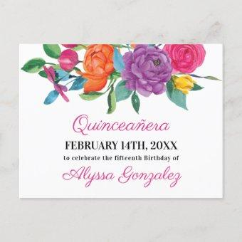 Save the Date Fiesta Flowers White and Floral Announcement Post