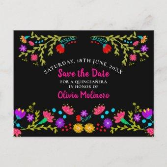 Save the Date Floral Mexican Fiesta Black Announcement Post