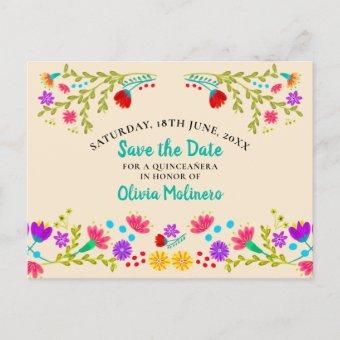Save the Date Floral Mexican Fiesta Champagne Announcement Post