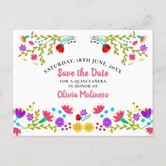 Save the Date Floral Mexican Fiesta White Announcement Post