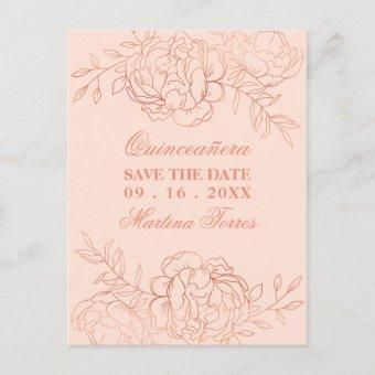 Save the Date Pink and Rose Gold Fine Art Floral Announcement Post