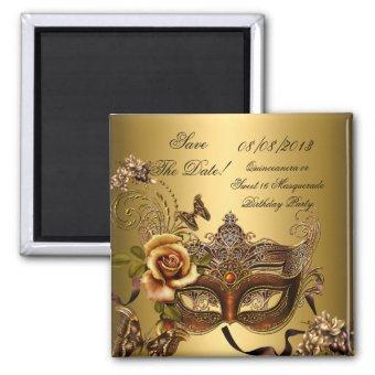 Save The Date Sweet 16 Masquerade Gold Magnet