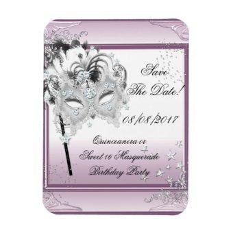Save The Date Sweet 16 Masquerade Magnet