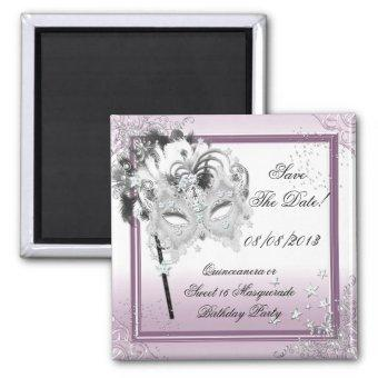 Save The Date Sweet 16 Masquerade Pink Magnet