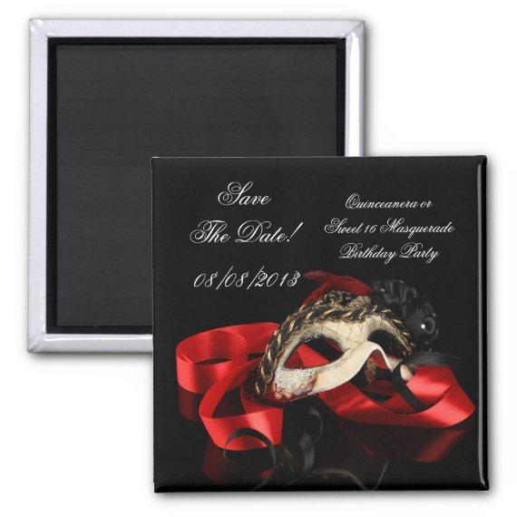 Save The Date Sweet 16 Masquerade Red Magnet