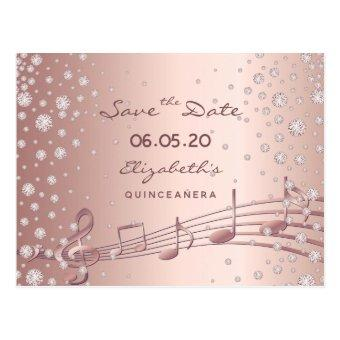 Save the Date rose gold glam Quinceañera party Post