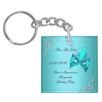 Save The Date Sweet 16 Masquerade Teal Keychain
